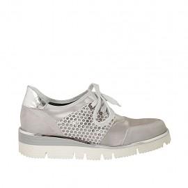 Chaussure à lacets pour femmes en daim et daim imprimé gris, cuir lamé argent et satin ivoire talon compensé 3 - Pointures disponibles:  42, 43, 44, 45