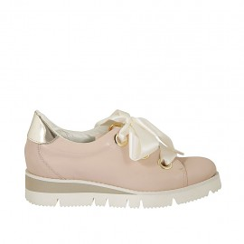 Woman's laced shoe in pink leather and golden patent leather wedge heel 3 - Available sizes:  33, 34, 42