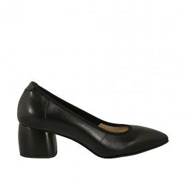 Escarpin pour femmes en cuir noir talon 5 - Pointures disponibles:  32, 33, 34, 44