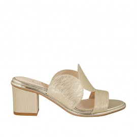 Woman's platinum printed open mules heel 6 - Available sizes:  31, 32, 33, 34, 42, 43, 44, 46