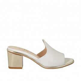 Woman's open mules in white leather heel 6 - Available sizes:  31, 32, 33, 34, 42, 43, 44, 46