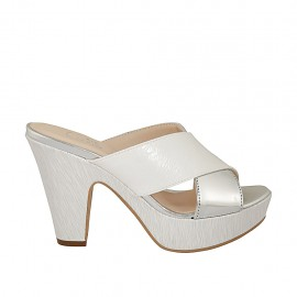 Woman's printed white open mule in silver patent leather with platform and heel 9 - Available sizes:  31, 33, 34, 42, 43, 44