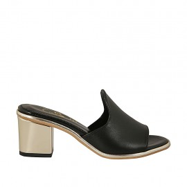 Woman's open mules in black leather heel 6 - Available sizes:  31, 32, 33, 34, 42, 43, 44, 45