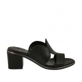 Damenpantolette aus schwarzem Leder Absatz 6 - Verfügbare Größen:  43, 44