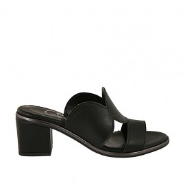 Woman's mules in black leather heel 6 - Available sizes:  31, 32, 33, 34, 42, 43, 44