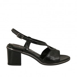 Sandalia para mujer en charol negro tacon 6 - Tallas disponibles:  31, 42, 43, 45