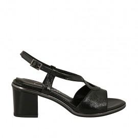 Sandalo da donna in vernice nera tacco 6 - Misure disponibili: 31, 32, 42, 43, 45, 46