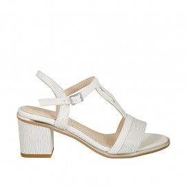 Woman's strap sandal in silver printed and white patent leather heel 6 - Available sizes:  32, 42, 44, 45