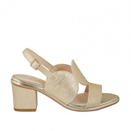 Sandalia estampada platino para mujer tacon 6 - Tallas disponibles:  32, 34, 42, 43, 45