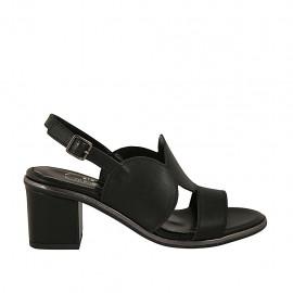 Sandalia para mujer en piel negra tacon 6 - Tallas disponibles:  31, 32, 42, 44