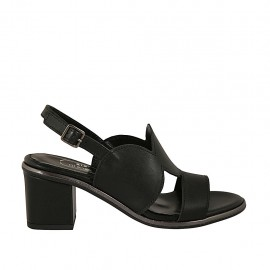 Woman's sandal in black leather heel 6 - Available sizes:  31, 32, 42, 44