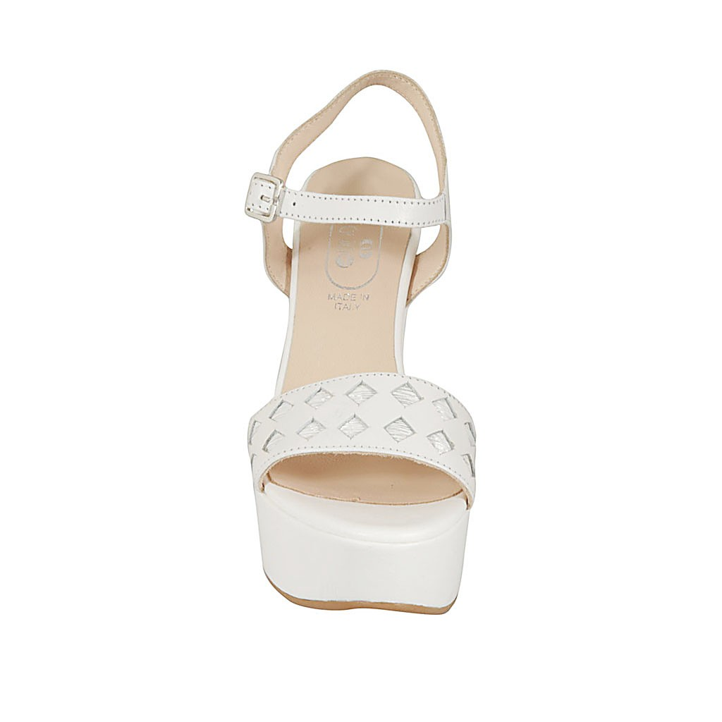 Y Blanca Plateada En Para Mujer Piel Imprimida Sandalia Cinturon Con kw08OPNXZn