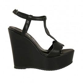 Damensandale aus schwarzem Leder mit Riem, Plateau und Keilabsatz 12 - Verfügbare Größen:  43