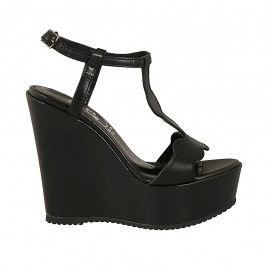 Woman's sandal in black leather with strap, platform and wedge heel 12 - Available sizes:  31, 32, 33, 34, 42, 43, 44, 45, 46