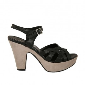 Woman's platform sandal with strap in black leather and beige suede heel 9 - Available sizes:  31, 32, 34, 42, 43