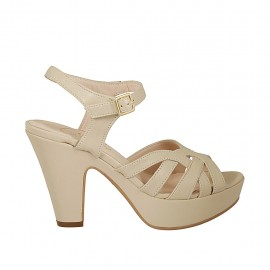 Woman's platform sandal with strap in beige leather heel 9 - Available sizes:  34, 42, 43, 44, 46