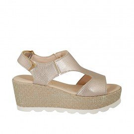 Woman's sandal in champagne-colored leather with velcro strap, platform and wedge 6 - Available sizes:  42