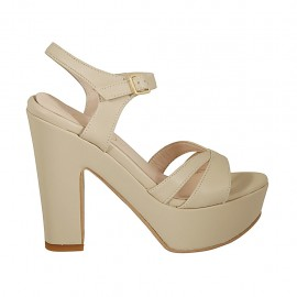 Woman's platform sandal with anklestrap in beige leather heel 11 - Available sizes:  32, 33, 34, 42, 43, 44, 45, 46