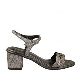 Sandalia con cinturon para mujer en piel laminada estampada gris tacon 6 - Tallas disponibles:  31, 32, 33, 34, 42, 43, 44