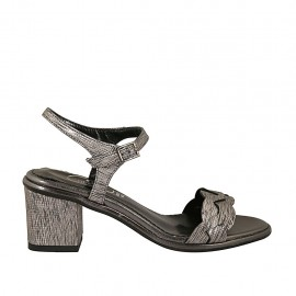 Woman's strap sandal in gunmetal grey printed laminated leather heel 6 - Available sizes:  32, 42, 43, 44