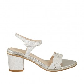 Woman's strap sandal in white and silver printed leather heel 6 - Available sizes:  45