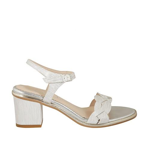 Sandalia con cinturon para mujer en piel estampada blanca y plateada tacon 6 - Tallas disponibles:  45