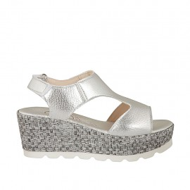 Woman's sandal in silver laminated leather with velcro strap, platform and wedge 6 - Available sizes:  34, 44, 46