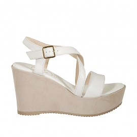 Woman's platform sandal with crossed straps in white leather and beige suede wedge heel 9 - Available sizes:  42, 43, 44, 46