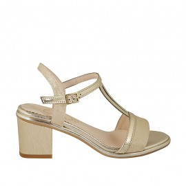 Woman's strap sandal in platinum printed and golden patent leather heel 6 - Available sizes:  32, 33, 34, 42, 43, 44, 46