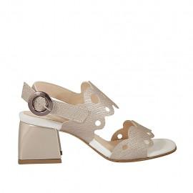 Sandalia imprimida perforada de color champán para mujer tacon 5 - Tallas disponibles:  31, 32, 33, 34, 42, 43, 44, 46