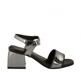 Sandalo da donna con cinturino e bottone in vernice grigio acciaio tacco 5 - Misure disponibili: 31, 32, 33, 34, 42, 43, 44, 45, 46