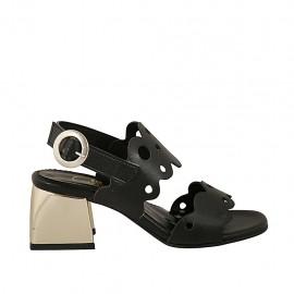 Sandalia para mujer en piel perforada negra tacon 5 - Tallas disponibles:  31, 32, 33, 44, 45