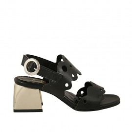 Woman's sandal in black pierced leather heel 5 - Available sizes:  31, 32, 33