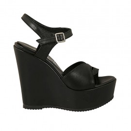 Woman's sandal in black leather with strap, platform and wedge heel 12 - Available sizes:  42, 43
