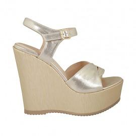 Sandalia platino para mujer con cinturon, plataforma y cuña 12 - Tallas disponibles:  42, 43, 44, 46