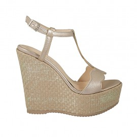 Woman's sandal in champagne-colored leather with strap, platform and wedge heel 12 - Available sizes:  43, 44, 45