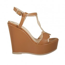 Woman's sandal in tan brown leather with strap, platform and wedge heel 12 - Available sizes:  42, 43, 44