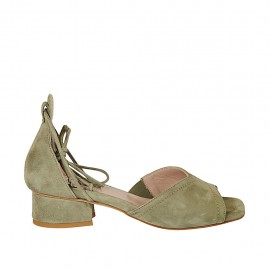 Woman's open shoe with laces in khaki green suede heel 3 - Available sizes:  32, 33, 34, 43, 44, 45