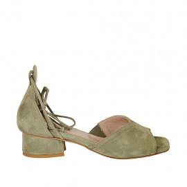 Zapato abierto para mujer con cordones en gamuza verde caqui tacon 3 - Tallas disponibles:  32, 33, 34, 43, 44, 45