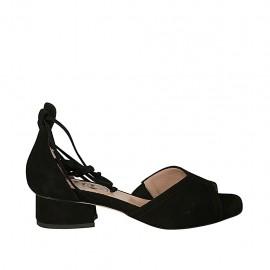 Zapato abierto para mujer con cordones en gamuza negra tacon 3 - Tallas disponibles:  32, 33, 34, 45