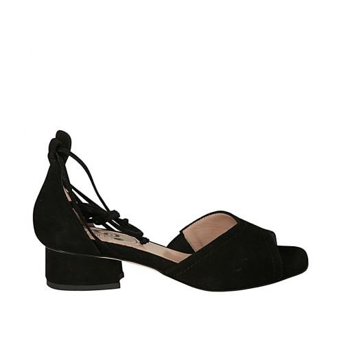 hot sales c0593 34983 Scarpa aperta da donna con lacci in camoscio nero tacco 3