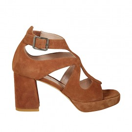 Woman's open shoe with buckle and platform in tobacco suede heel 7 - Available sizes:  34, 42, 43, 44, 45