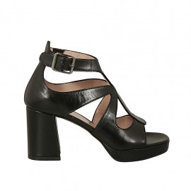 Woman's open shoe in black leather with buckle and platform heel 7 - Available sizes:  42, 43, 44