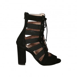 Woman's open shoe with laces and zipper in black suede and fabric heel 8 - Available sizes:  33, 34, 43