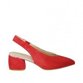 Chanel para mujer con elastico en gamuza roja tacon 5 - Tallas disponibles:  32, 33, 34, 45