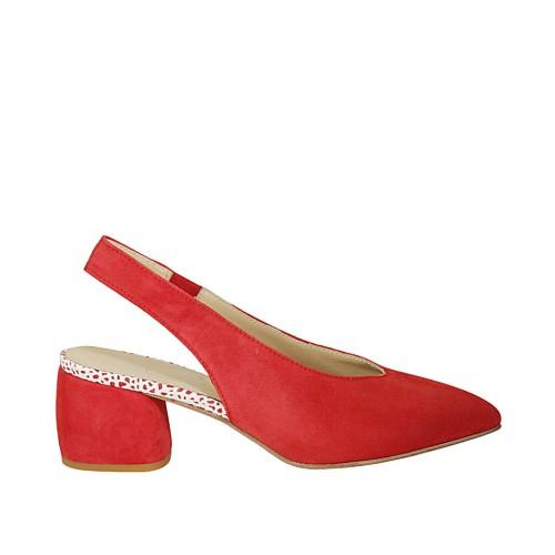 Chanel para mujer con elastico en gamuza roja tacon 5 - Tallas disponibles:  33, 45