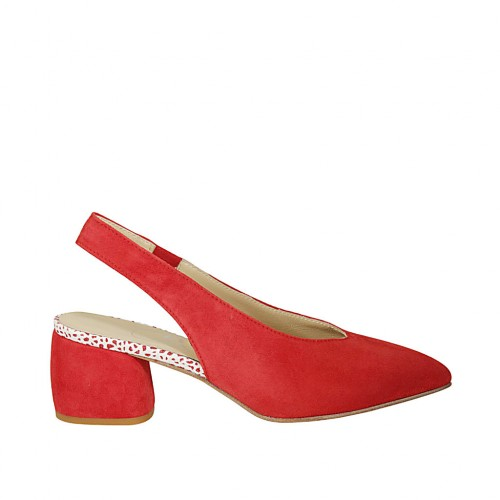Zapato destalonado para mujer con elastico en gamuza roja tacon 5 - Tallas disponibles:  33, 45