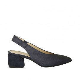 Woman's slingback pump with elastic band in blue fabric and suede heel 5 - Available sizes:  32, 33, 34, 42, 43, 44, 45