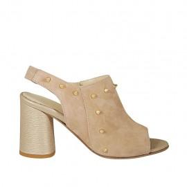 Sandalo da donna con elastico, borchie e cerniera in camoscio cipria e pelle laminata platino tacco 7 - Misure disponibili: 32, 33, 34, 42, 43, 45