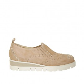 Woman's highfronted shoe with elastics and rhinestones in beige suede wedge 3 - Available sizes:  45